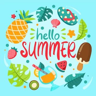 Dibujado a mano hola elementos de verano