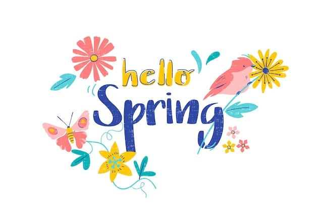 Dibujado a mano hola fondo floral de primavera