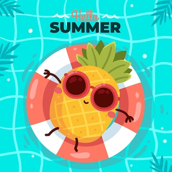 Dibujado a mano hola ilustración de verano