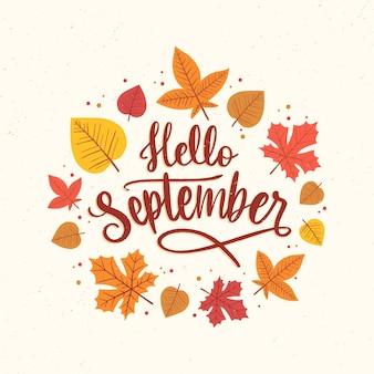 Dibujado a mano hola septiembre letras