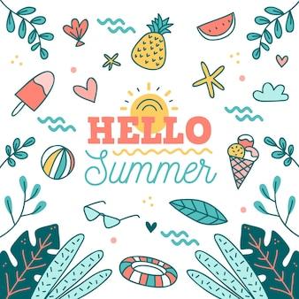 Dibujado a mano hola verano con fruta y helado