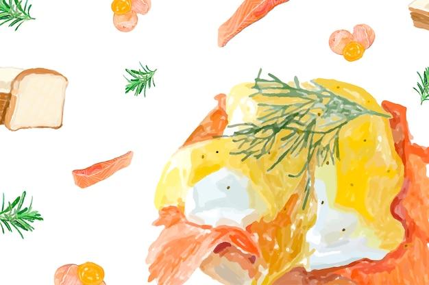 Dibujado a mano huevo benedic estilo acuarela