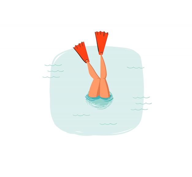 Dibujado a mano icono de ilustraciones divertidas de horario de verano de coon con chica de buceo de natación en olas del océano azul sobre fondo blanco