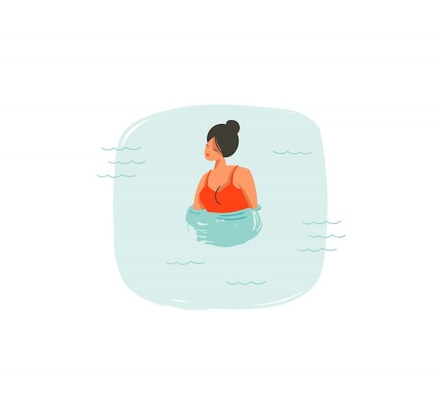 Dibujado a mano icono de ilustraciones divertidas de horario de verano de coon con niña nadando en olas del océano azul sobre fondo blanco