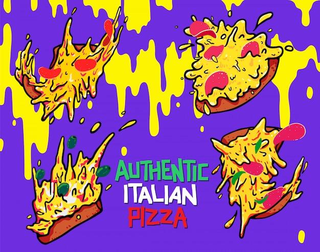 Dibujado a mano icono de pizza