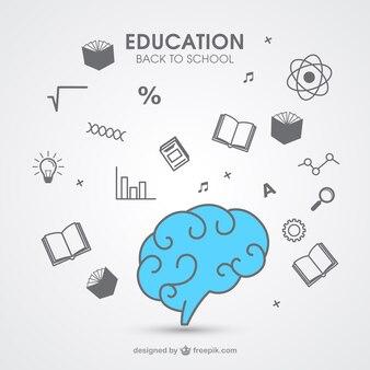 Dibujado a mano iconos de la educación