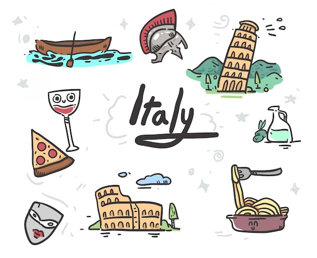 Dibujado a mano iconos de italia