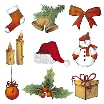 Dibujado a mano iconos de navidad
