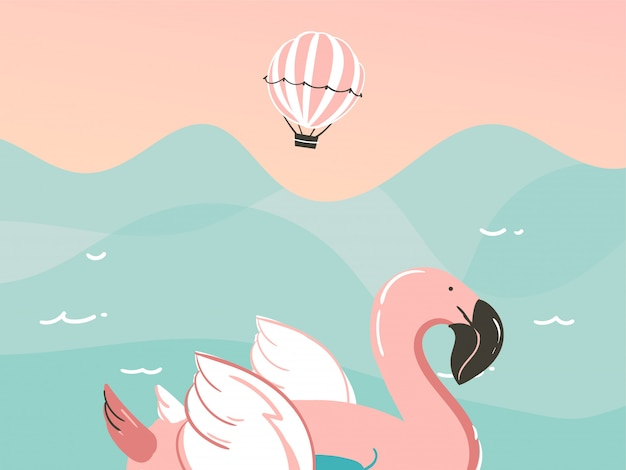 Dibujado a mano ilustración abstracta con un flotador de natación flamingo anillos en el paisaje de las olas del océano sobre fondo azul.