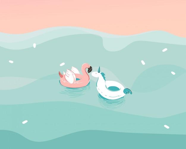 Dibujado a mano ilustración abstracta de stock con un unicornio y un flamenco nadando anillos de flotador de goma en el paisaje de las olas del océano sobre fondo azul