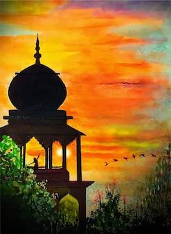 Dibujado a mano ilustración acuarela roja puesta de sol con un símbolo de religión