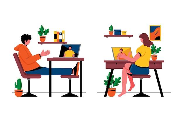 Dibujado a mano ilustración amigos escenas de videoconferencia