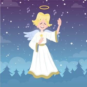 Dibujado a mano ilustración de ángel de navidad