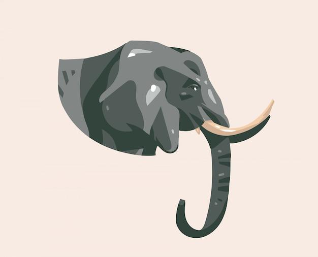 Dibujado a mano ilustración con animal de dibujos animados de cabeza de elefante salvaje en el fondo