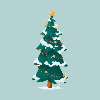 Dibujado a mano ilustración de árbol de navidad decorado