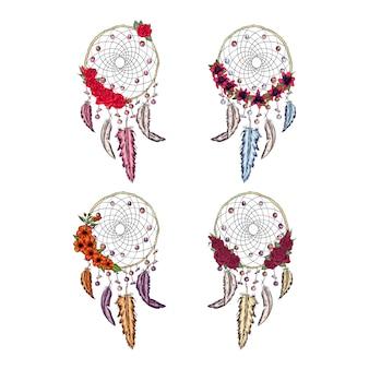 Dibujado a mano ilustración de atrapasueños setwith flores, póster nativo americano