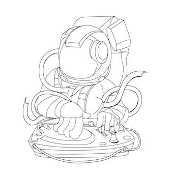 Dibujado a mano ilustración de baile astronauta