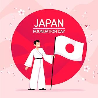 Dibujado a mano ilustración bandera del día de la fundación