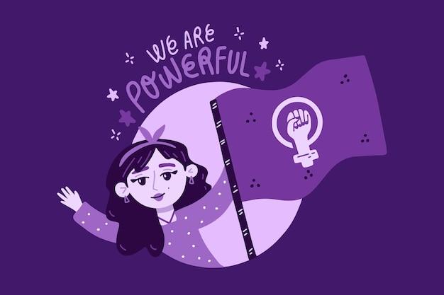 Dibujado a mano ilustración de bandera feminista