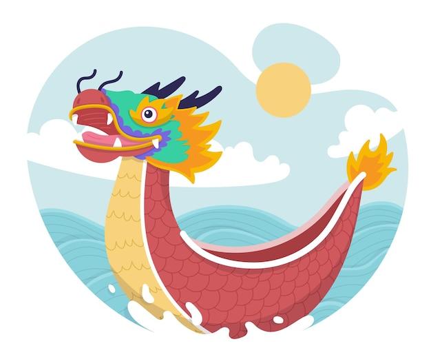 Dibujado a mano ilustración de barco de dragón
