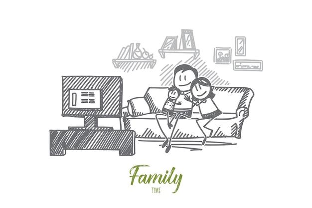 Dibujado a mano ilustración de boceto de concepto de tiempo en familia