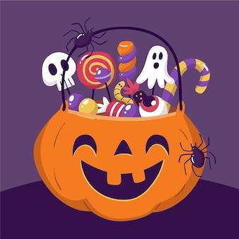 Dibujado a mano ilustración de bolsa de halloween