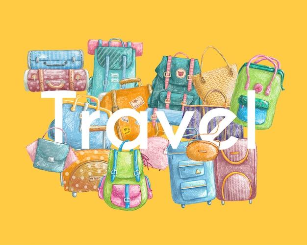 Dibujado a mano ilustración con bolsas de viaje