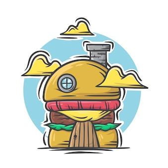 Dibujado a mano ilustración de burger grill house sobre fondo blanco.