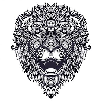 Dibujado a mano ilustración de cabeza de león zentangle