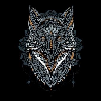 Dibujado a mano ilustración de cabeza de zorro étnico