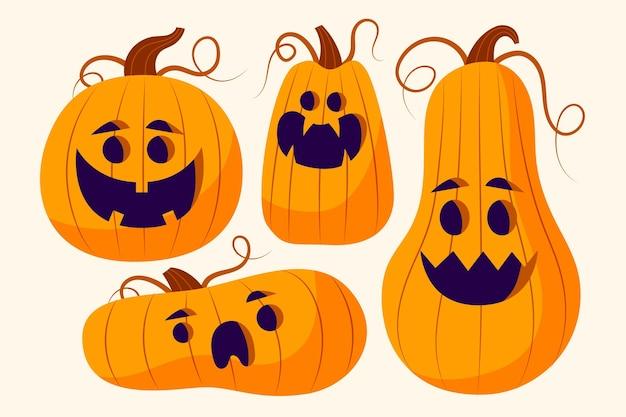Dibujado a mano ilustración de calabaza de halloween plana