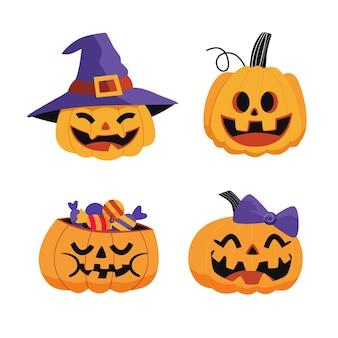 Dibujado a mano ilustración de calabaza de halloween plana vector gratuito