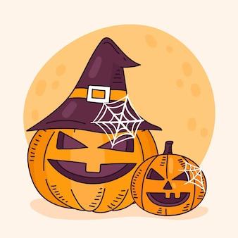 Dibujado a mano ilustración de calabaza de halloween