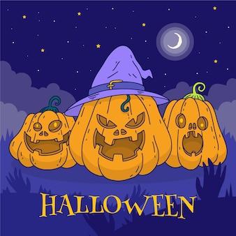 Dibujado a mano ilustración de calabazas de halloween