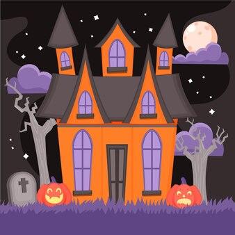 Dibujado a mano ilustración de casa de halloween plana