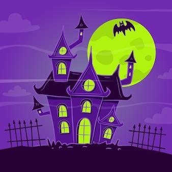 Dibujado a mano ilustración de casa de halloween