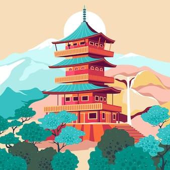 Dibujado a mano ilustración de castillo japonés