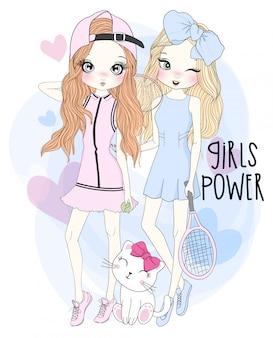 Dibujado a mano ilustración de chicas lindas