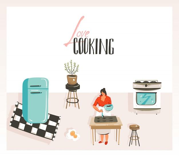 Dibujado a mano ilustración de clase de cocina de dibujos animados con vintage retro mujer chef, refrigerador y caligrafía love cooking aislado sobre fondo blanco.