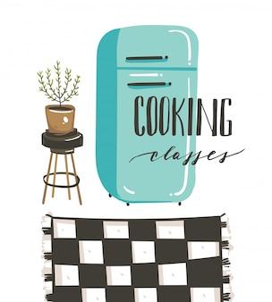 Dibujado a mano ilustración de cocina con refrigerador retro vintage y caligrafía clases de cocina aisladas sobre fondo blanco.