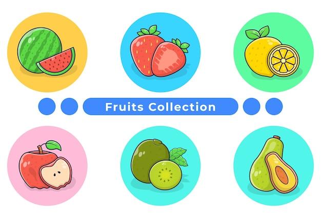 Dibujado a mano ilustración de colección de frutas frescas