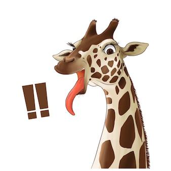 Dibujado a mano ilustración a color de jirafa