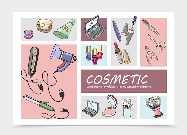 Dibujado a mano ilustración de composición de elementos cosméticos