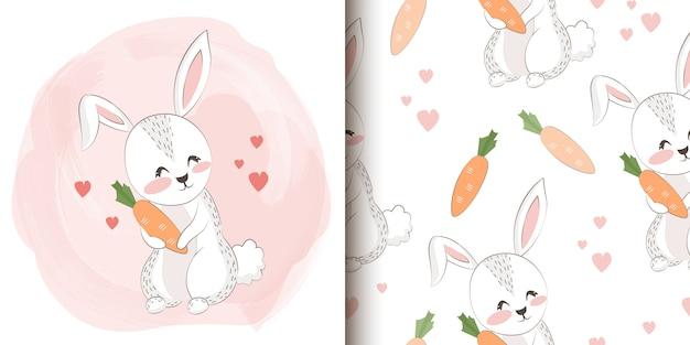 Dibujado a mano ilustración de conejo y patrón transparente