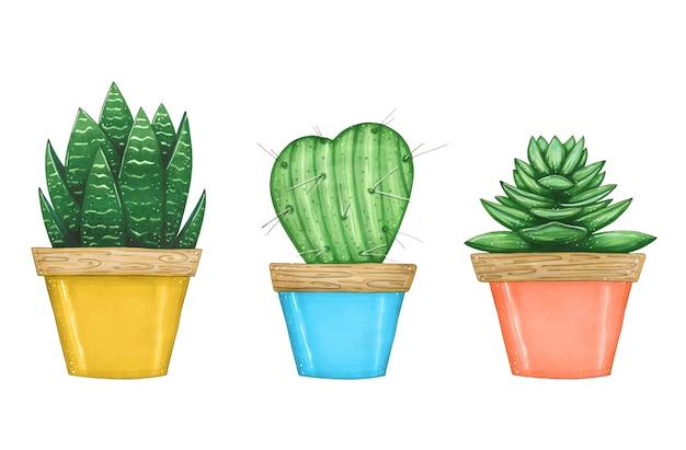Dibujado a mano ilustración con conjunto de plantas de interior en macetas de colores.