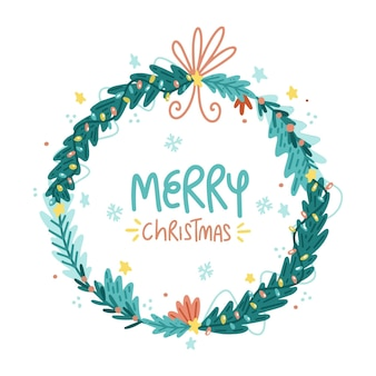 Dibujado a mano ilustración de corona de navidad
