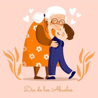 Dibujado a mano ilustración dia de los abuelos
