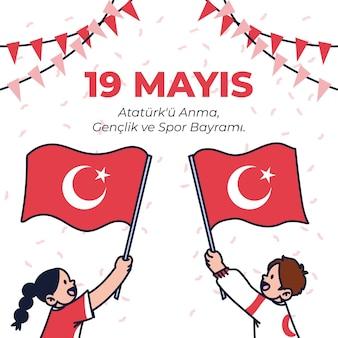 Dibujado a mano ilustración del día de ataturk, la juventud y el deporte