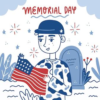 Dibujado a mano ilustración del día de los caídos en estados unidos