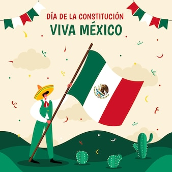 Dibujado a mano ilustración de dia de la constitucion